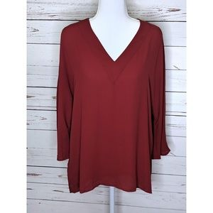 Ann Taylor Loft | V neck Red Polyester Hilo Tunic